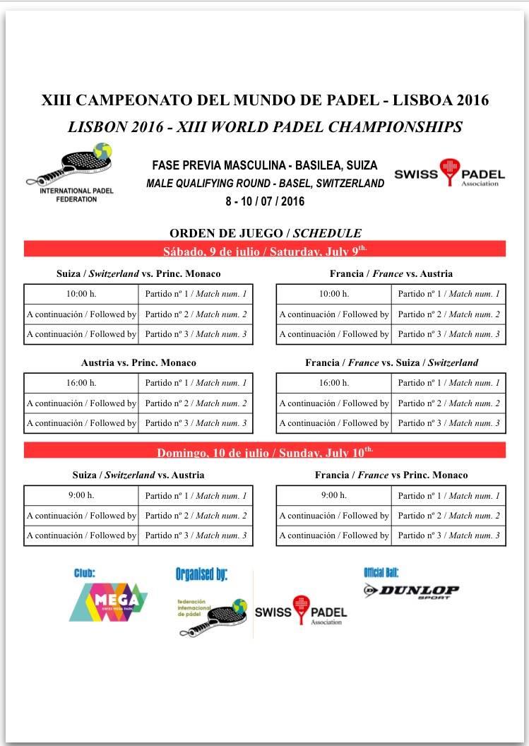 calendrier qualifications championnats du monde de padel 2016 bale