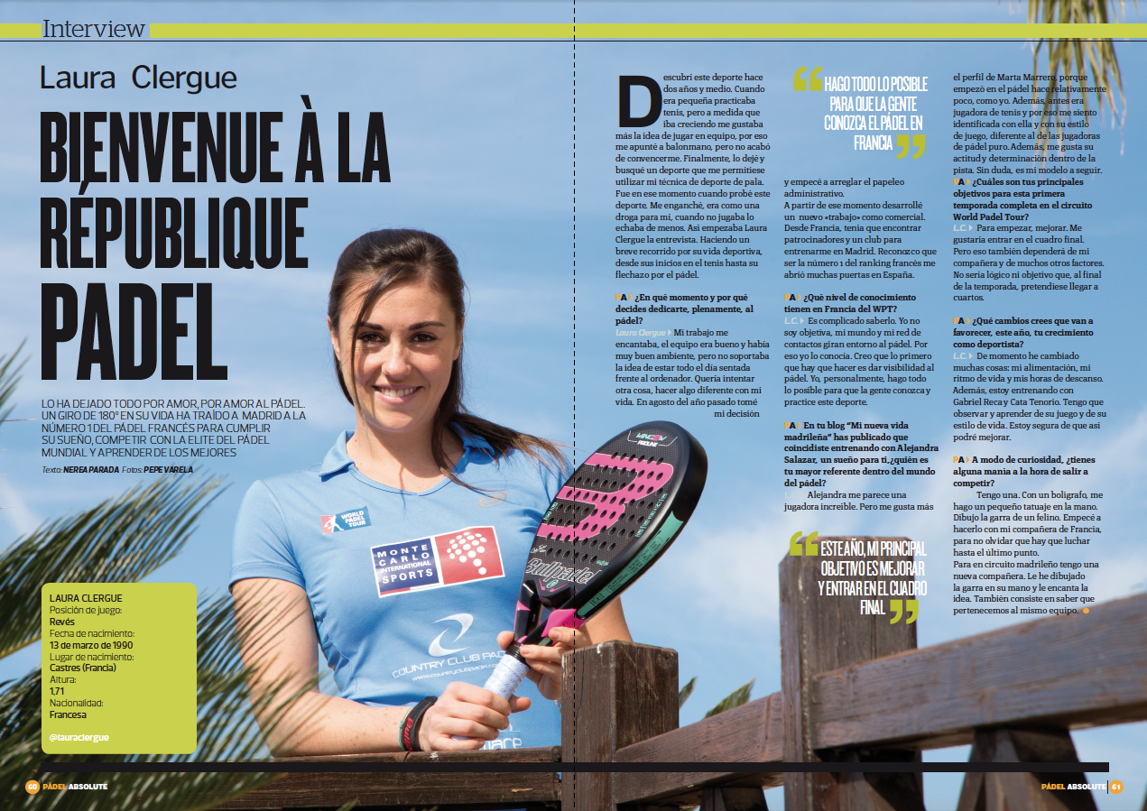 La double Page Padel Absolute de Laura Clergue