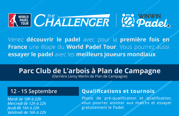 Programmation Challenger WinWin Padel Cabriès