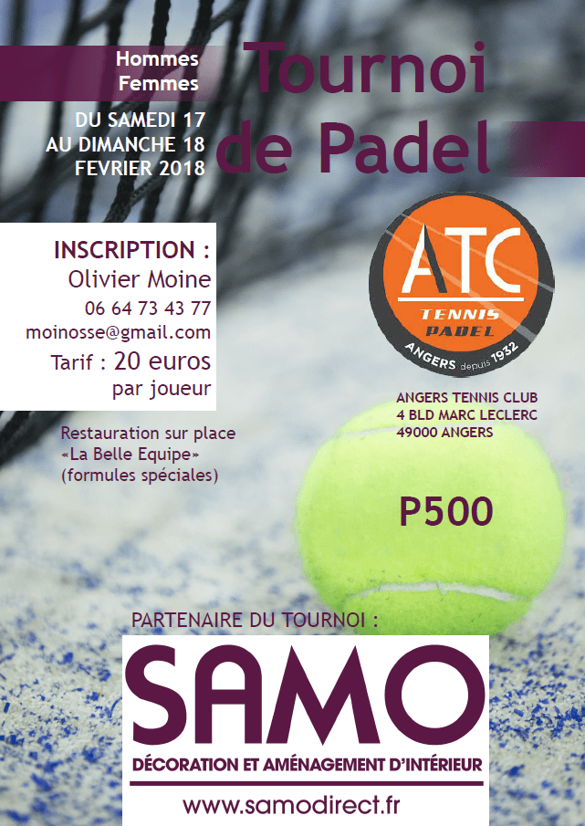 l 39 open samo angers tennis padel club aura lieu le 17 18 f vrier padel magazine. Black Bedroom Furniture Sets. Home Design Ideas