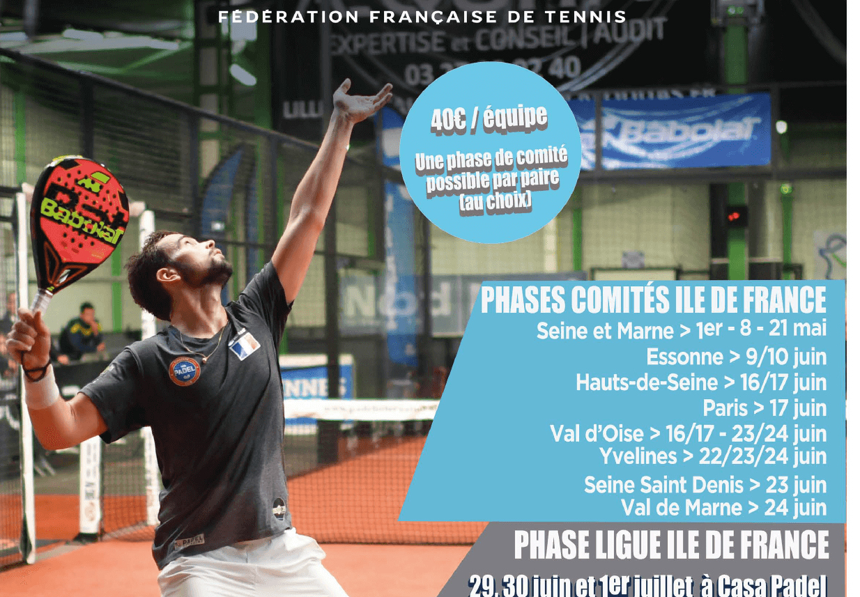 Inscription avant le 4 mai – Comité IDF PADEL