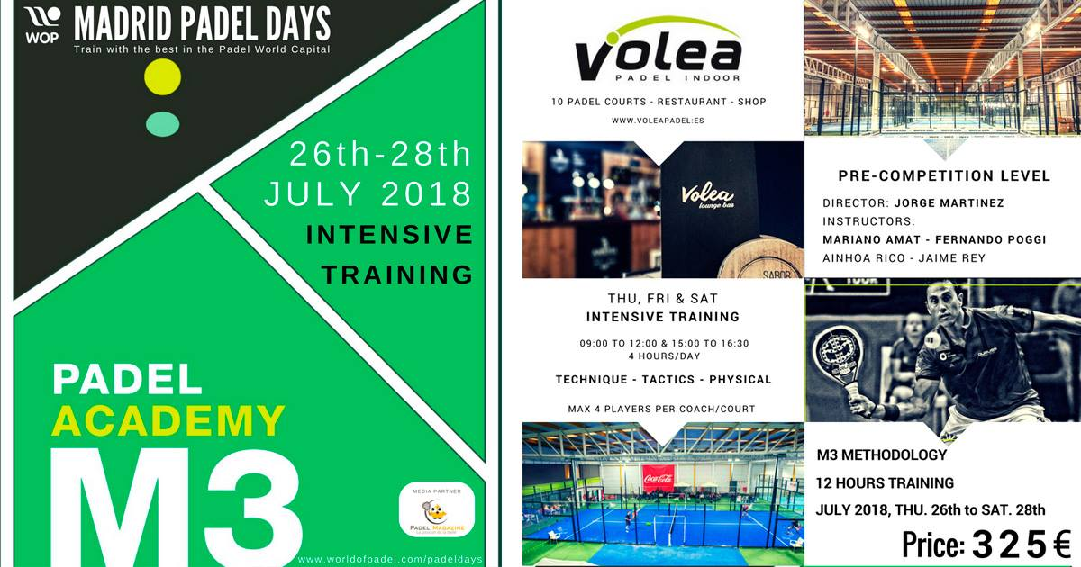 Stage padel – Madrid Padel Days – 26 au 28 juillet