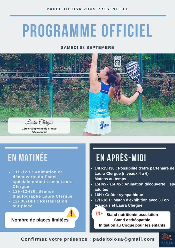 Programme du stage padel à Padel Tolosa