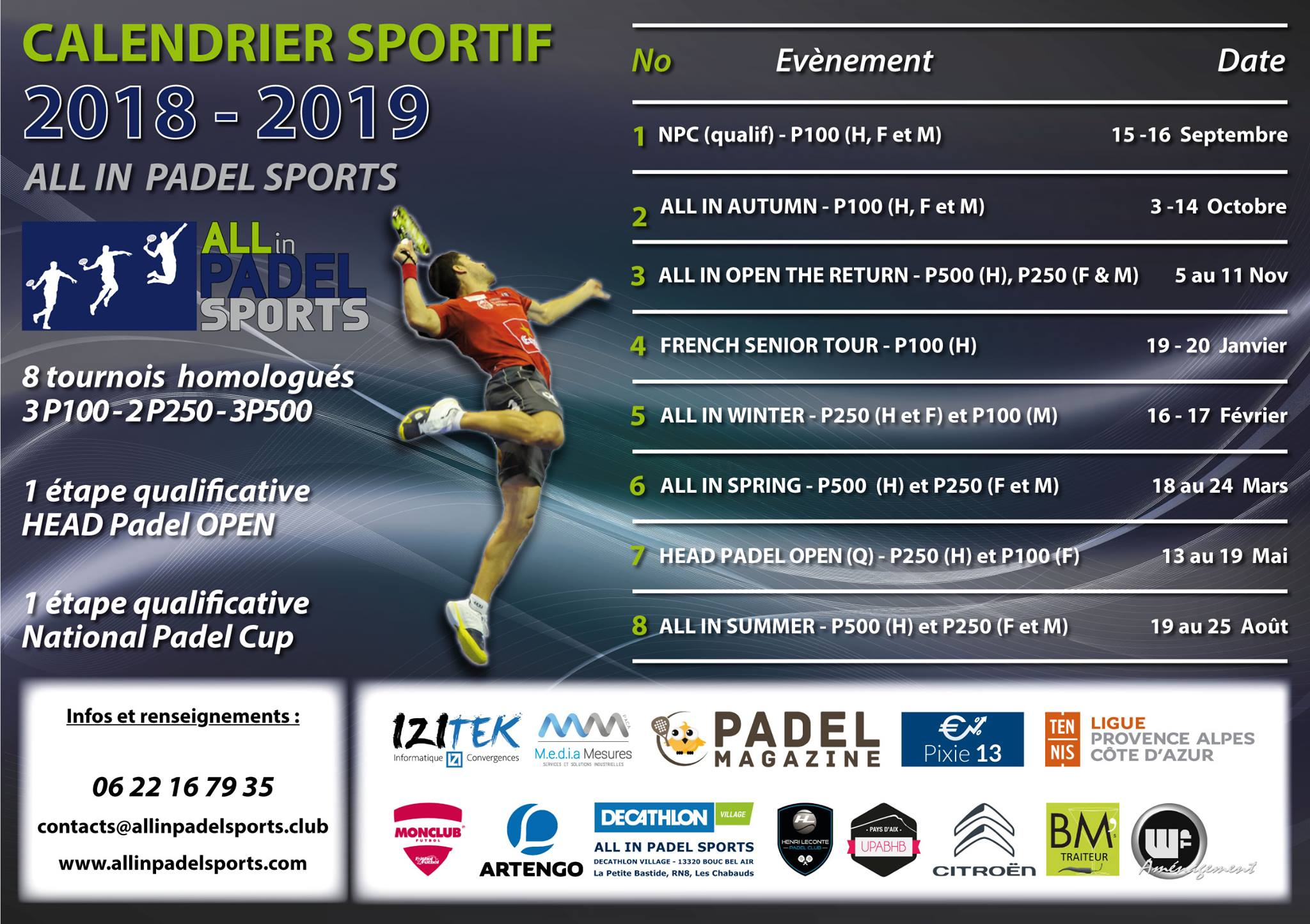 Calendrier Tournois à All In Padel Sports