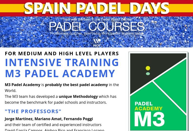 Stages padel intensifs à M3 Padel Academy