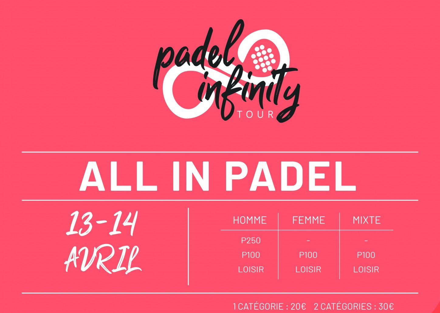 Padel Infinity à All In Padel Sports – 13 et 14 avril