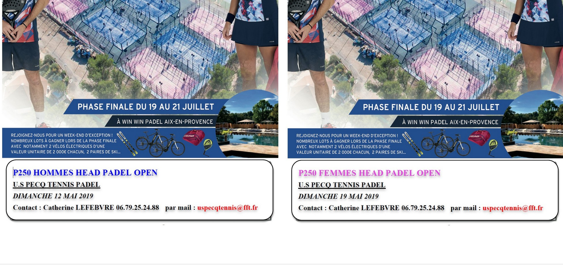 Direction le Pecq – Head Padel Open – 12 et 19 mai