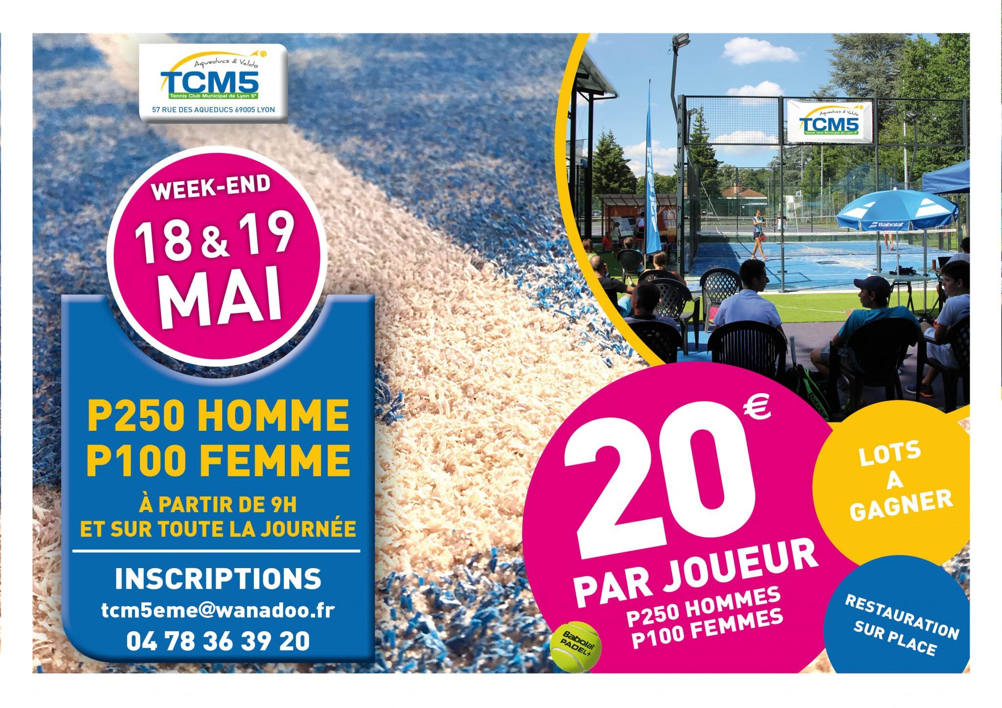 Open TCM5 Padel – P250 M et P100 D – 18 et 19 mai
