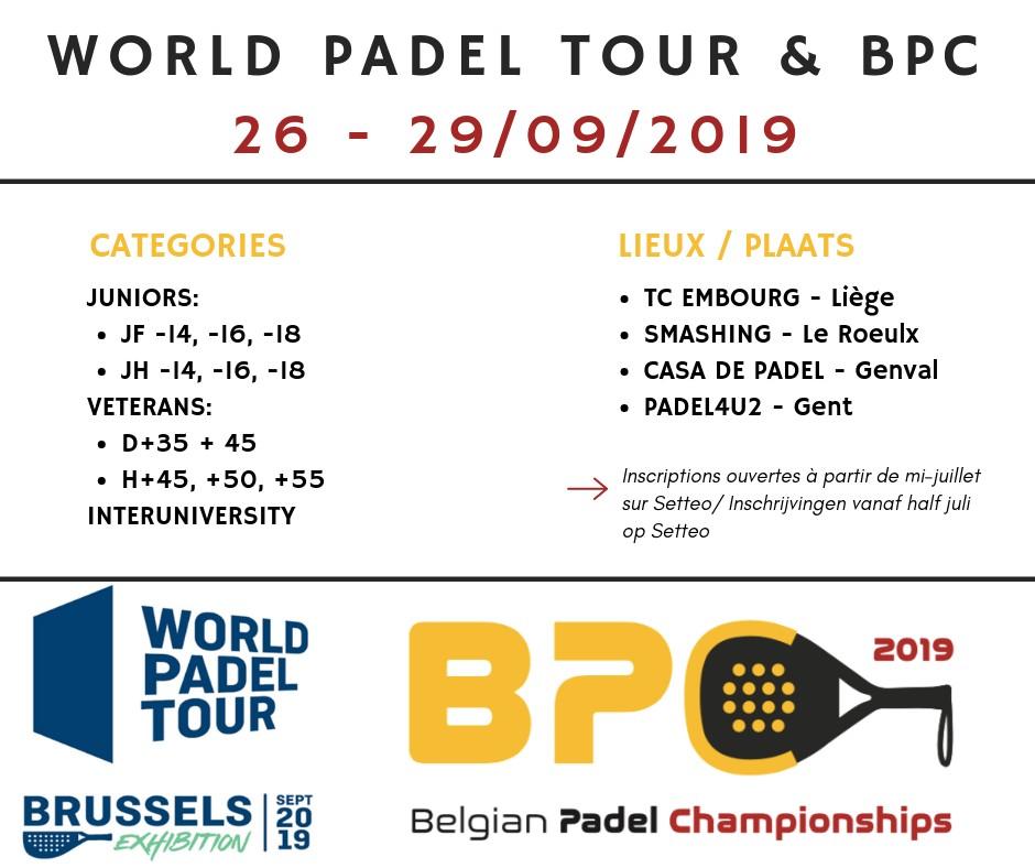Inscriptions pour les Belgian Padel Championships