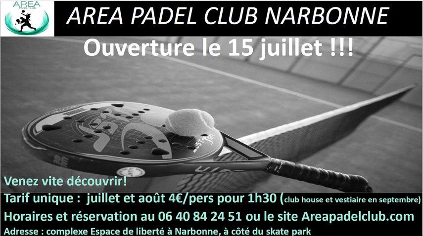 Area Padel Club Narbonne – Ouverture le 15 juillet