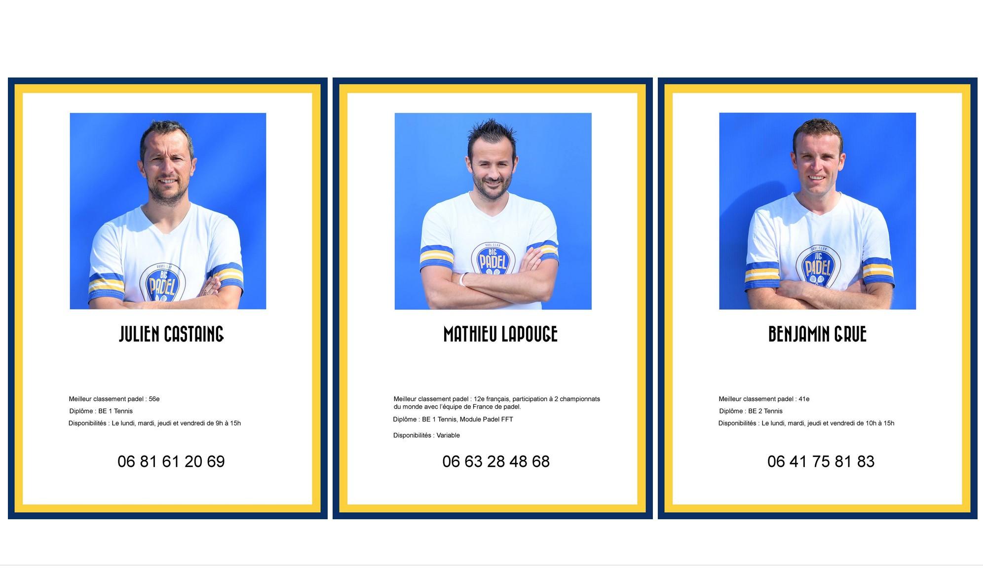 3 coachs padel au BIG PADEL BORDEAUX