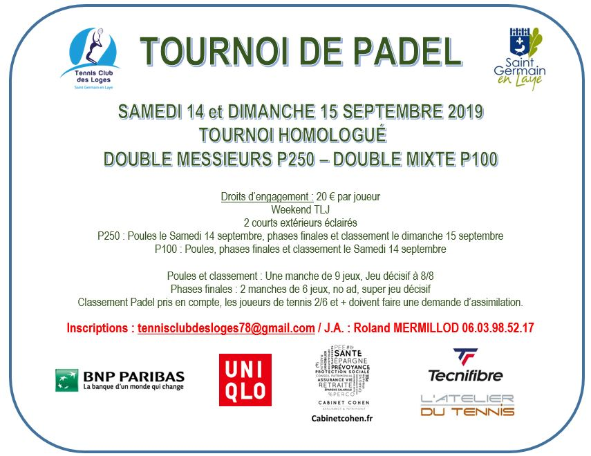 Open Padel de Saint Germain en Laye – 14 et 15 septembre