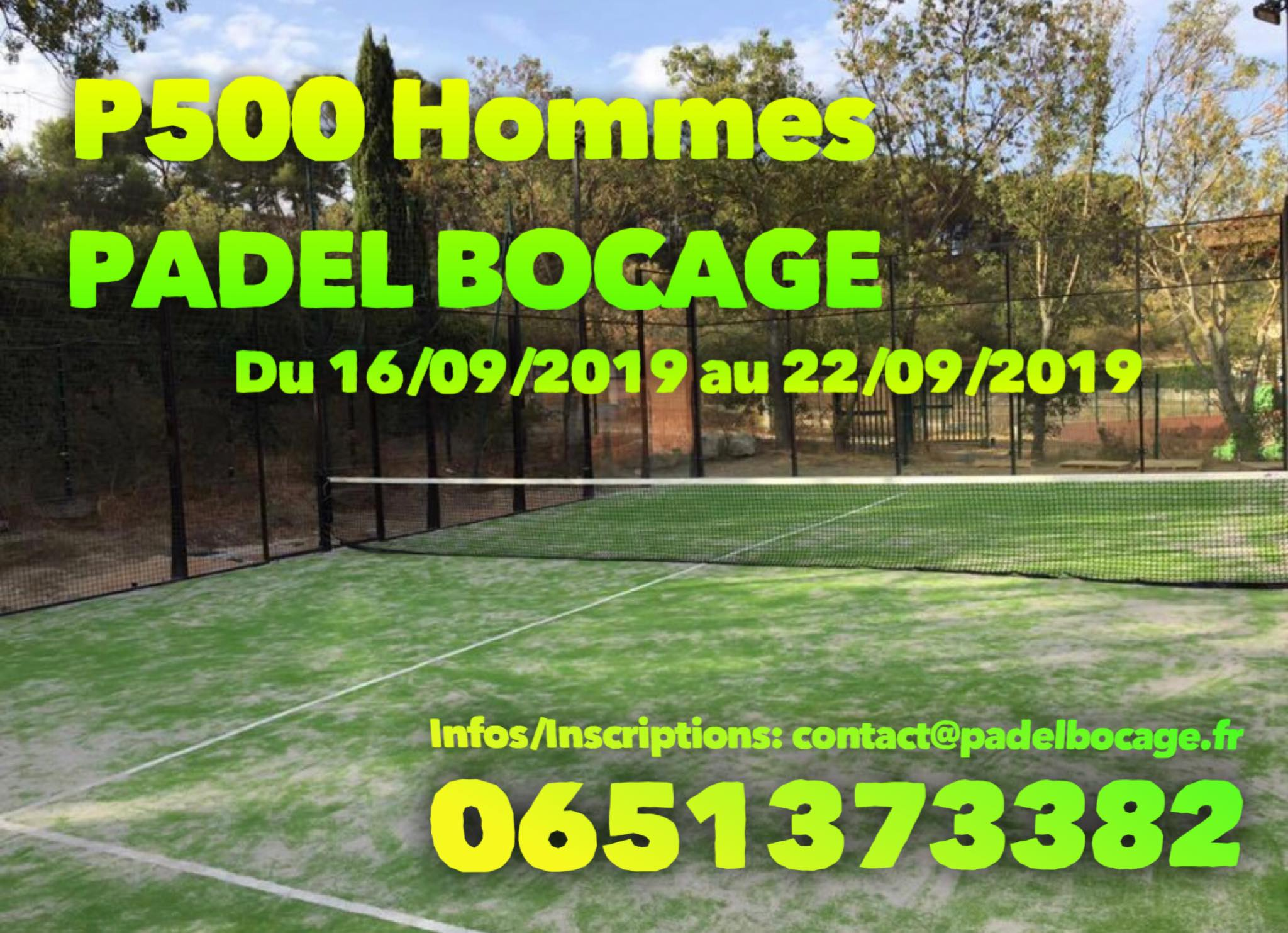 P500 – Padel Bocage – 16 au 22 septembre 2019