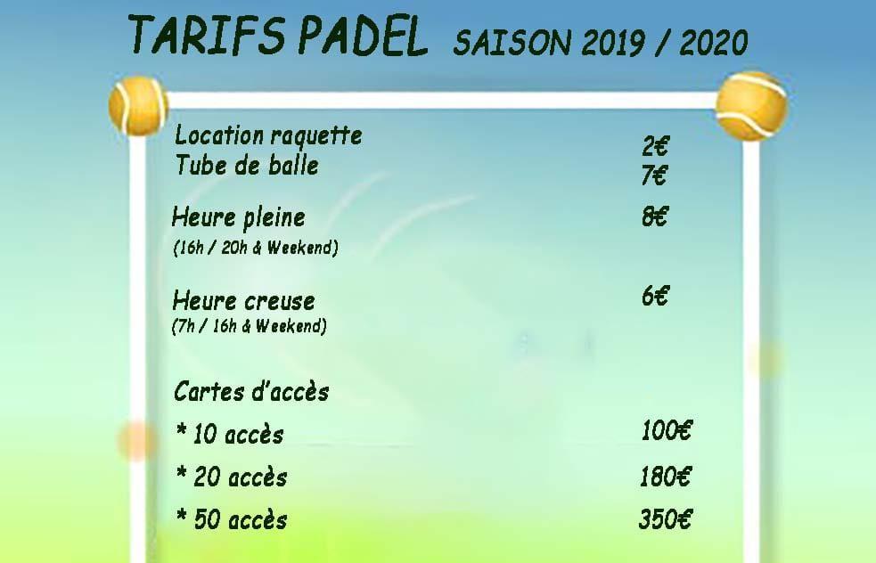Tariffe riunioni Padel Club