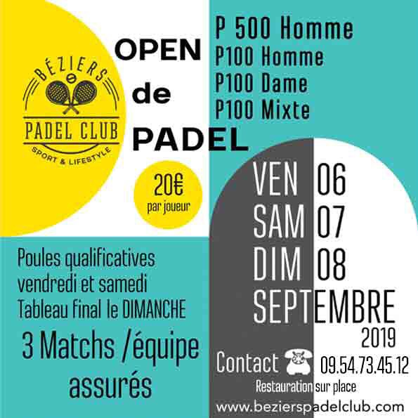 Béziers Padel Club : 4 tournois en 1 we !