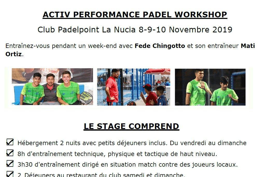 ACTIV PERFORMANCE PADEL WORKSHOP