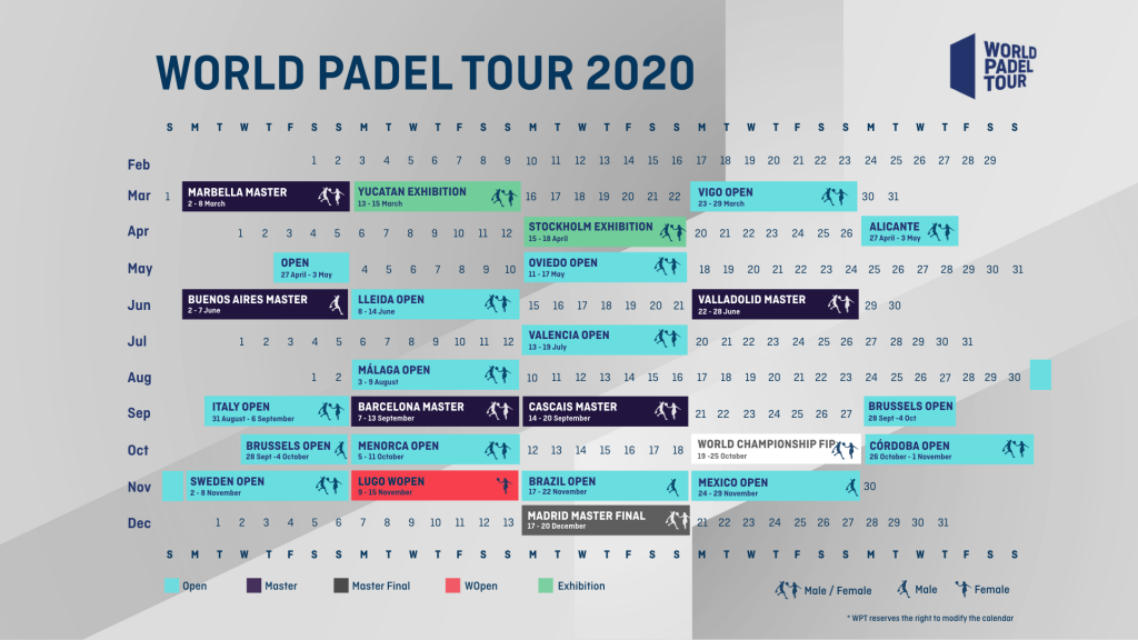 Calendrier World Padel Tour 2020 : GO !