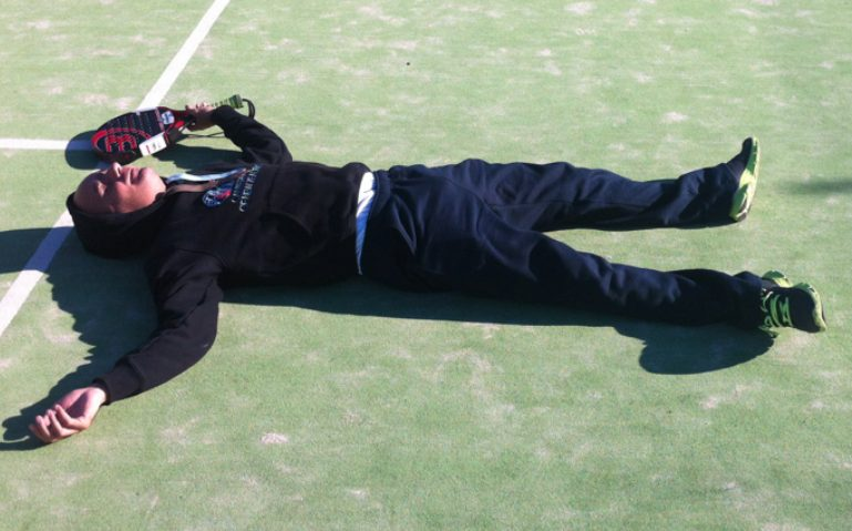 player lying on the floor