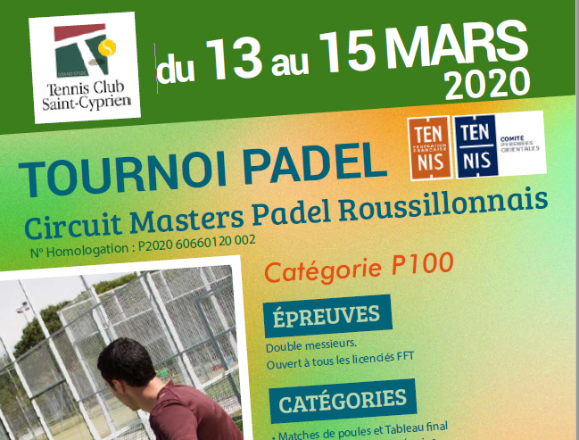Masters Circuit padel Roussillonnais from March 13 to 15, 2020