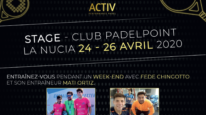 Padel Nucia-praktik: 24-26 april, 2020 - Activ'Performance
