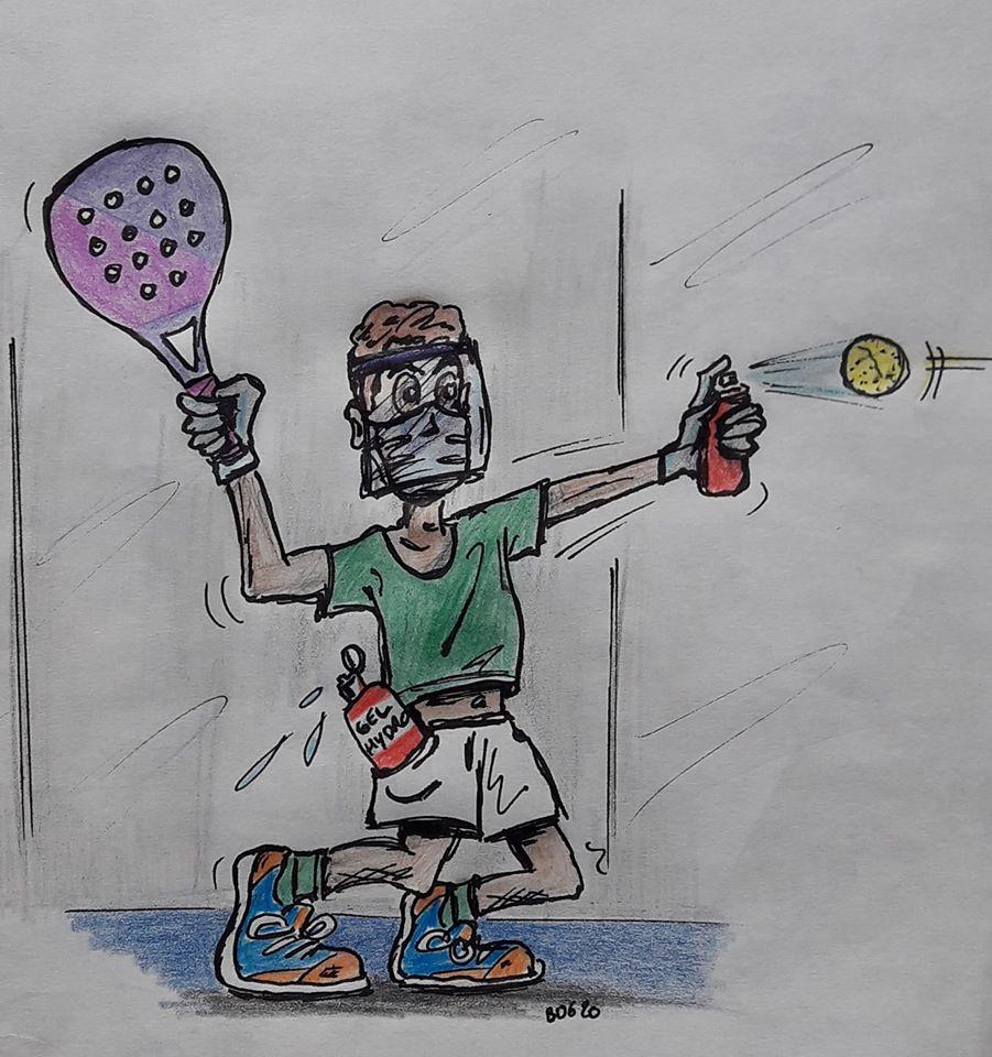 humour padel confinement dessin peinture padel
