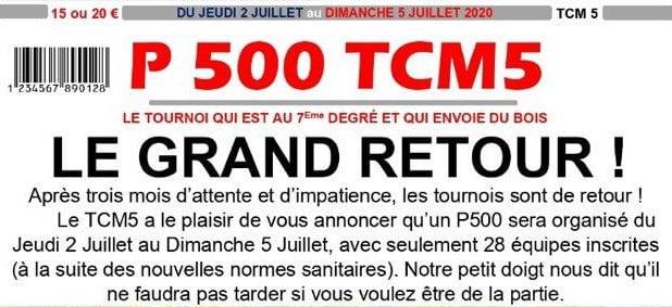 """P500 TCM5 """"Les Pipes"""" à partir du 2 juillet !"""