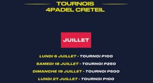 Tournois juillet 4PADEL Créteil