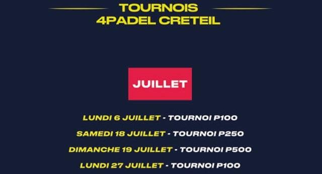 4PADEL Créteil: 4 torneigs padel a juliol