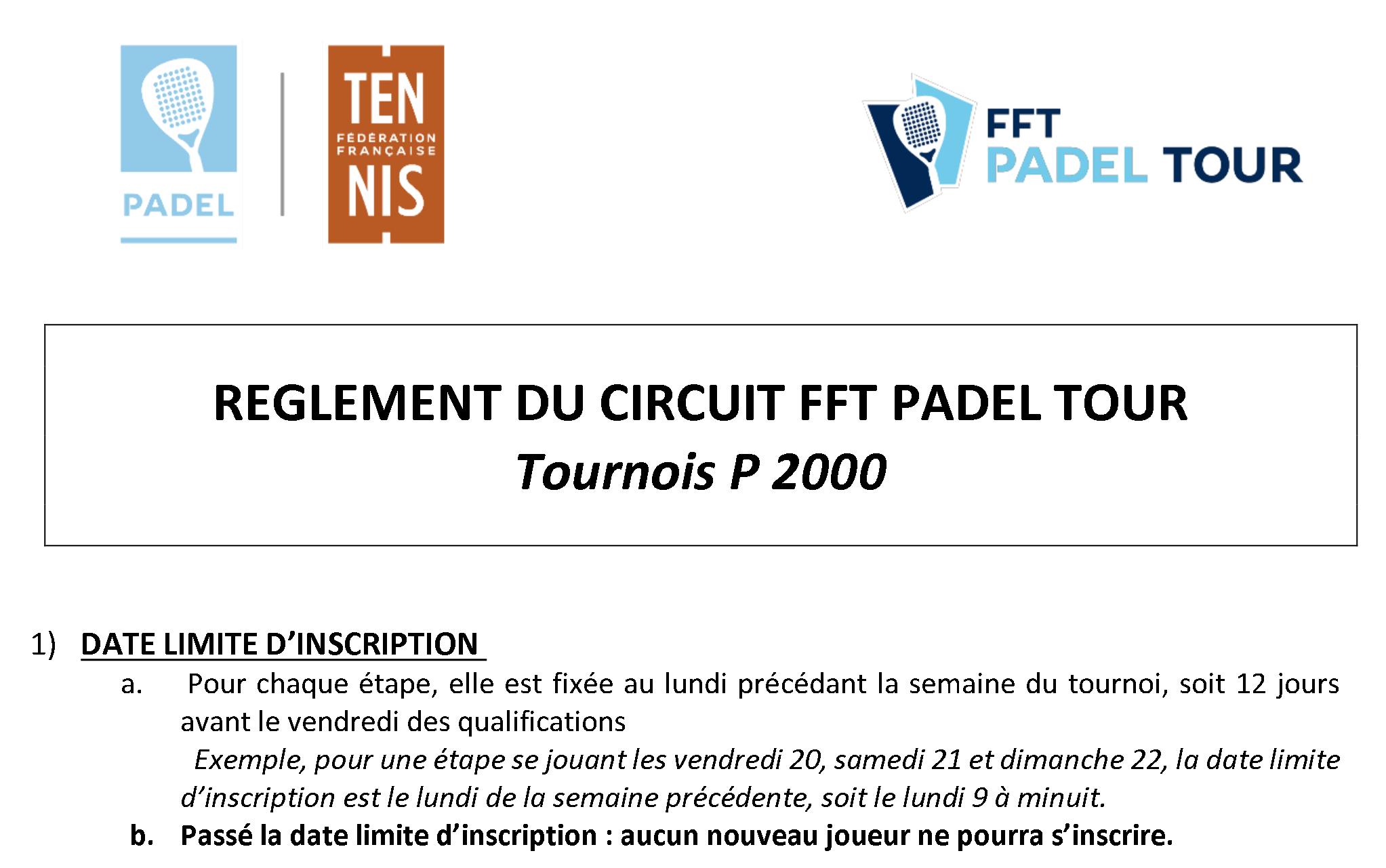 P2000 specifikationer - FFT PADEL TOUR