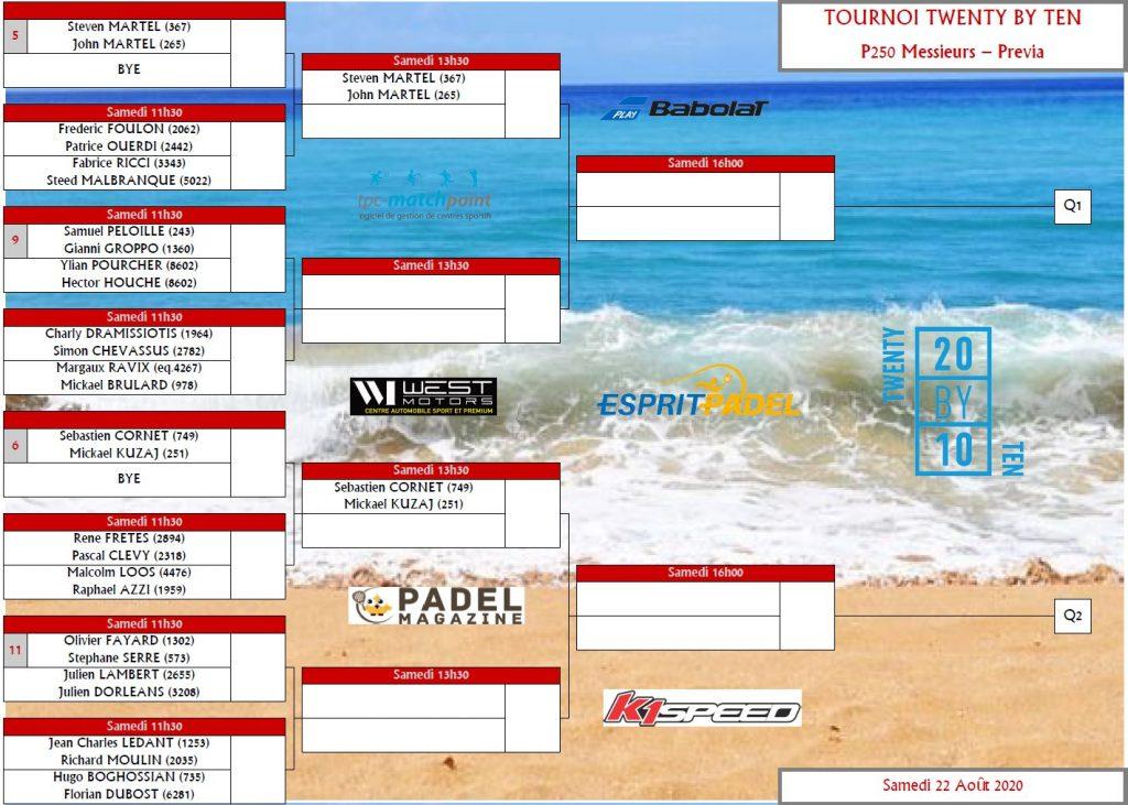 tournoi padel twenty by ten p250 messieurs previa