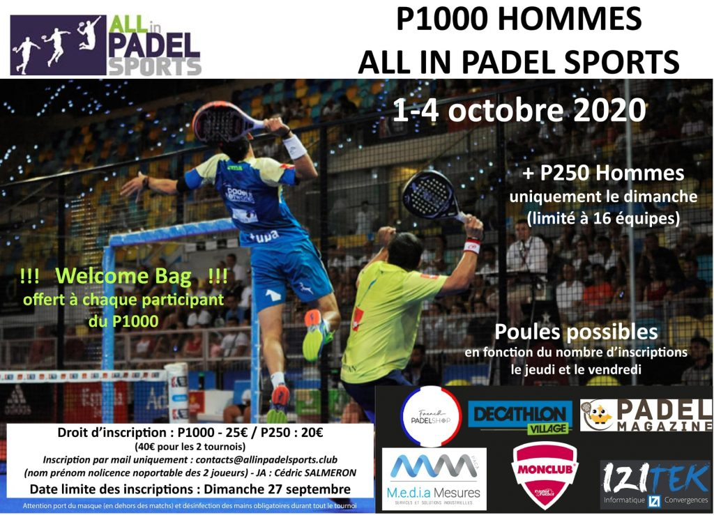 ALL IN PADEL SPORTS TOURNOIS P1000