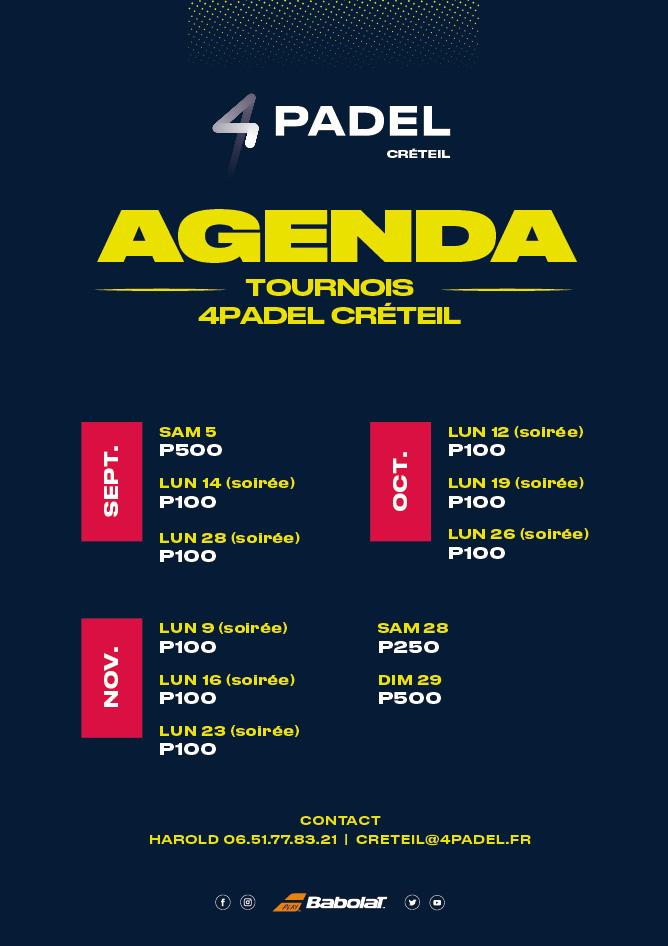 Agenda Tournois 2020 4padel Créteil