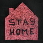 stay home covid 19 maison interdiction rouge