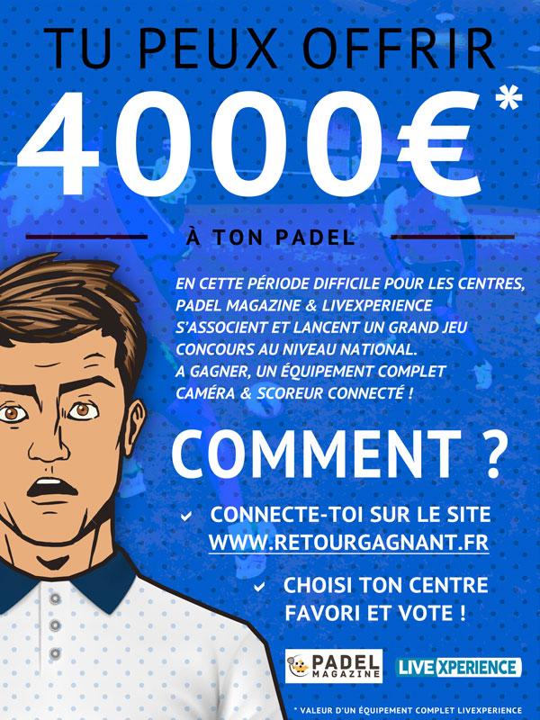 Jeux concours 4000€ retour gagnant live streaming livexperience