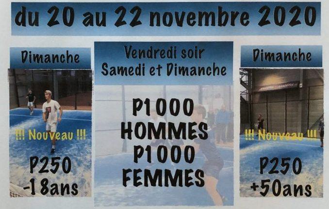 P1000 dames / messieurs – ATC Angers – 20 au 22 novembre 2020