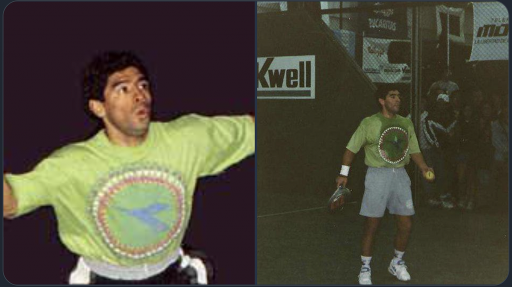 Diego Maradona death star padel Beach football