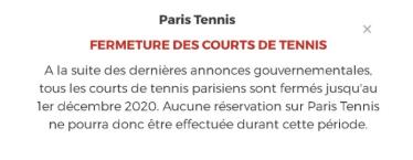 Terrains de tennis accessibles dès le 2 décembre ?