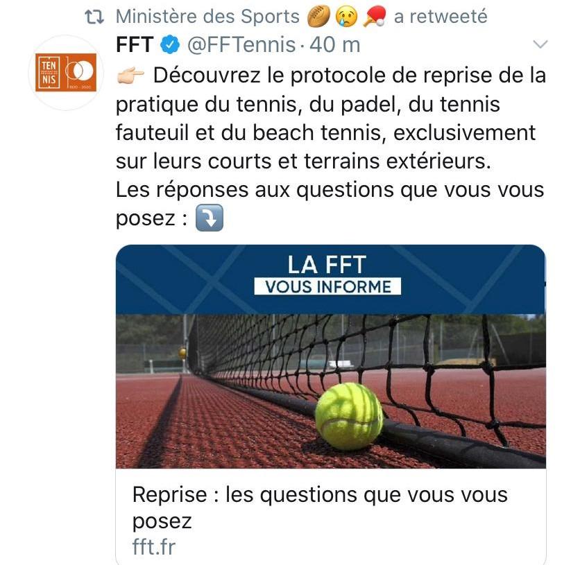 Tweet ministère des sports FFT