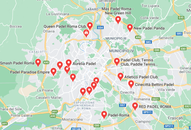 padel rome italy map