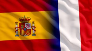 Mélange drapeaux espagne france