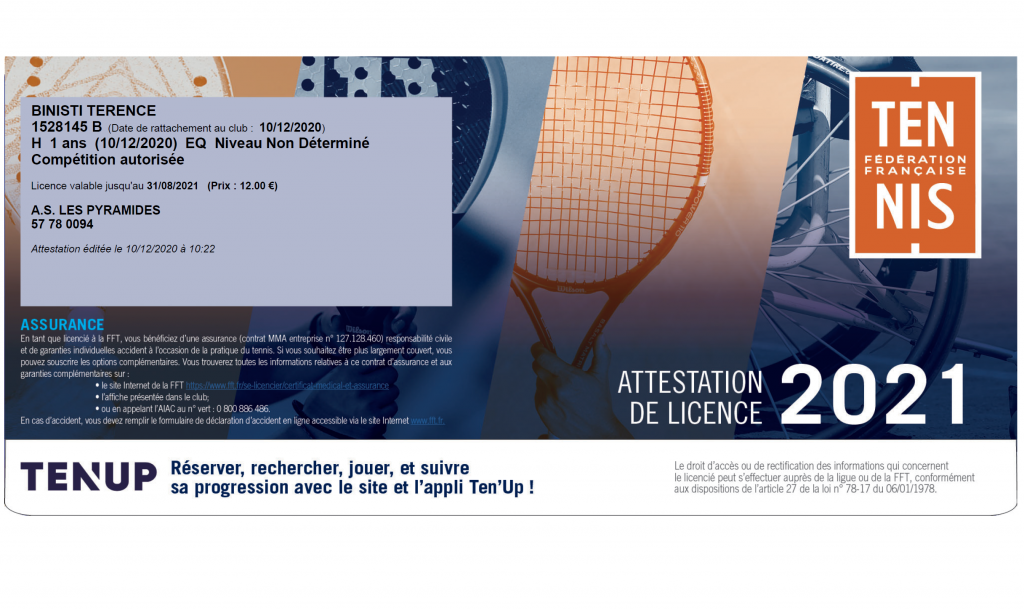 licence tennis padel nourrisson terence Binisti