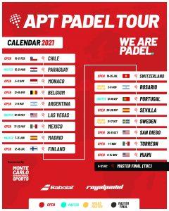 Calendrier 2021 Apt Padel Tour