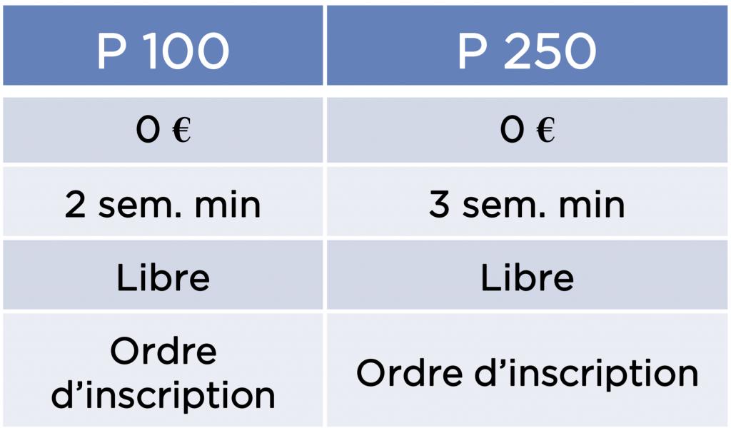 catégories tournois de padel P100 et P250