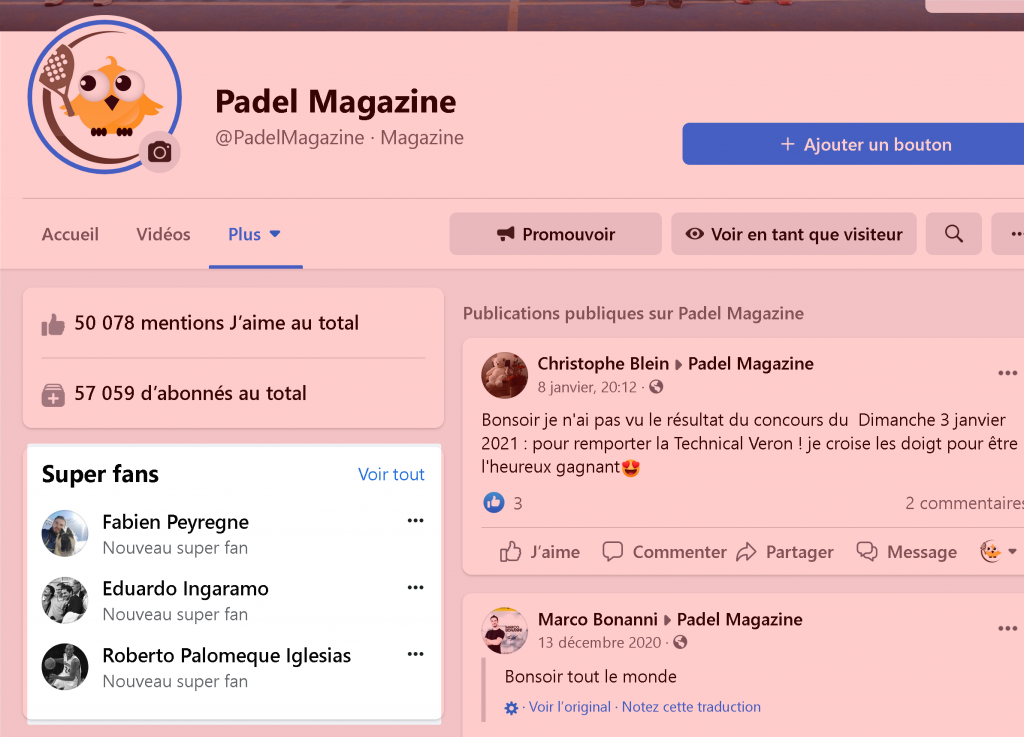 supers fans communauté facebook padel mgazine