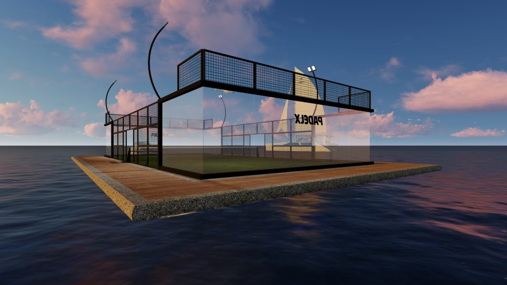land of padel floating in the sea