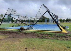 tempête padel terrain destruction