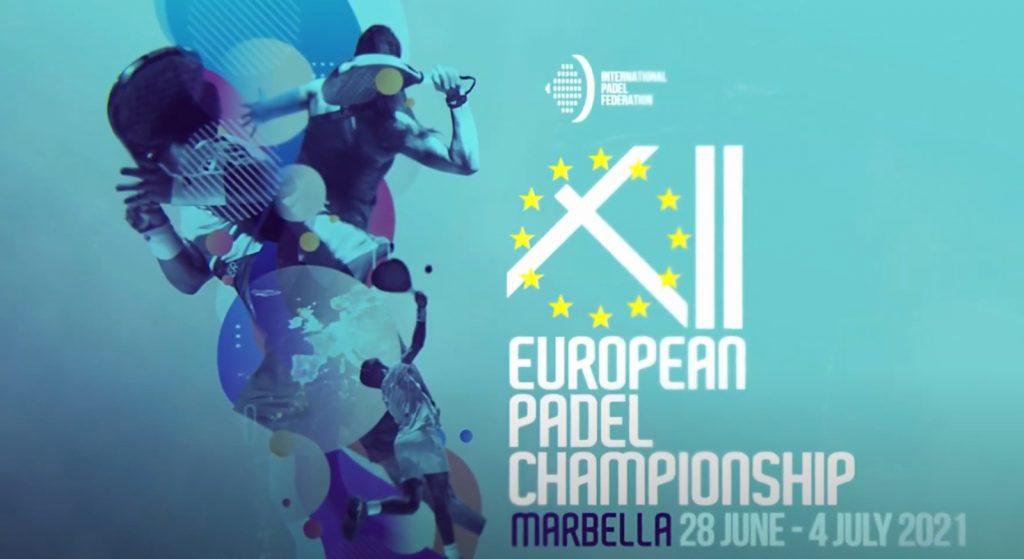 12 ° Campionato Europeo logo blu Padel a Marbella
