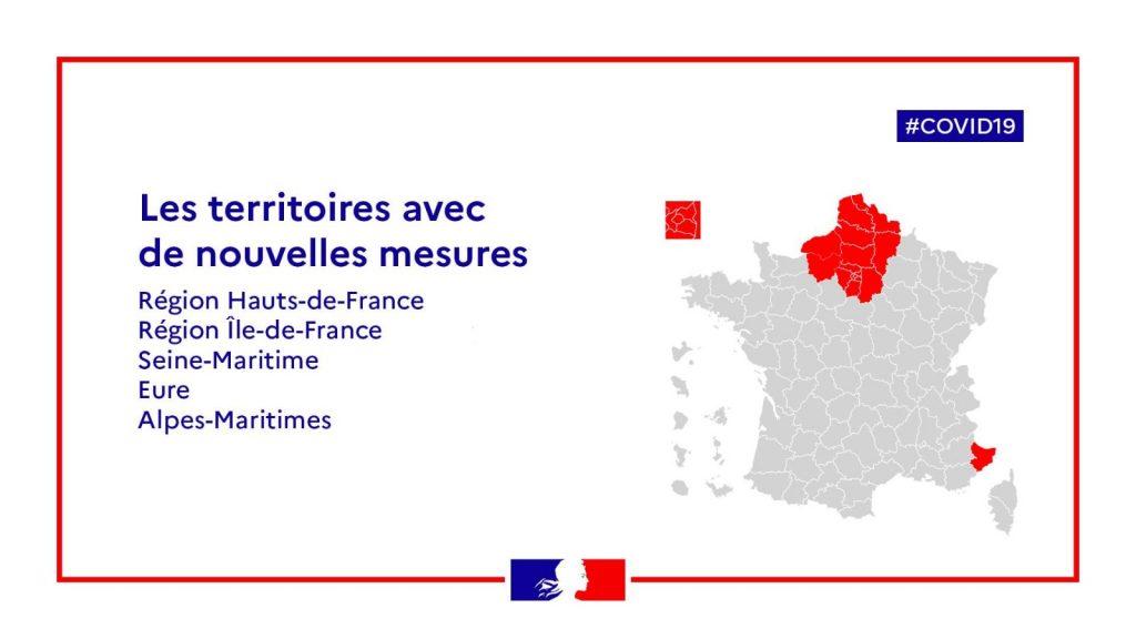 Territoires avec nouvelles mesures France 18 mars 2021 Covid