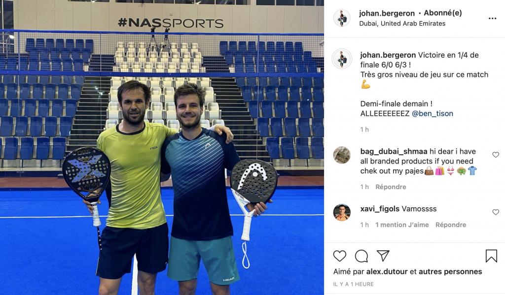 Instagram Padel Johan Bergeron et Benjamin Tison FIP Star Dubai
