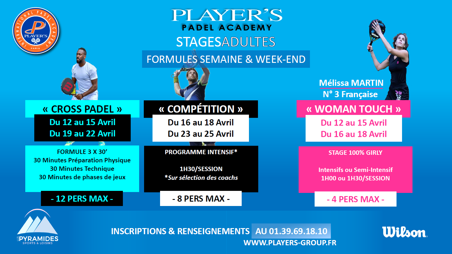 Player's : 6 Stages padel du 12 au 25 avril aux Pyramides